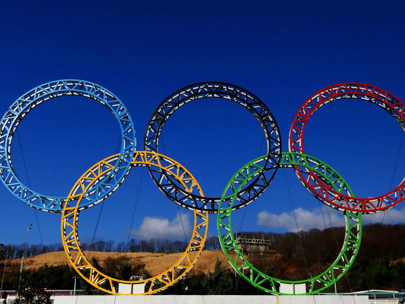 A view of the Olympic rings in Sochi