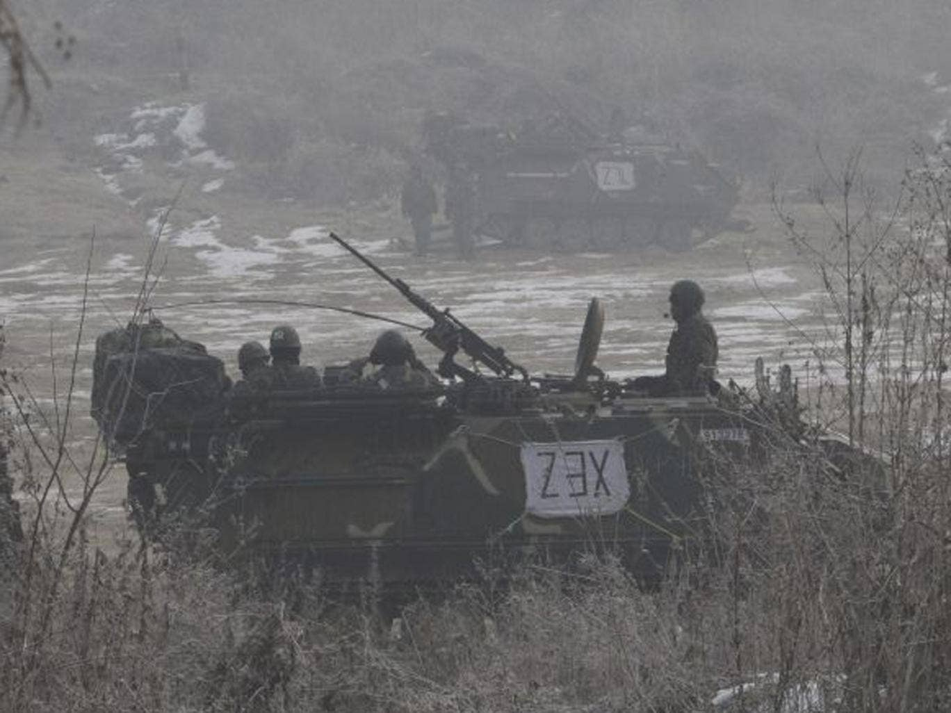 South Korean army's armoured vehicles park during a military exercise in Paju