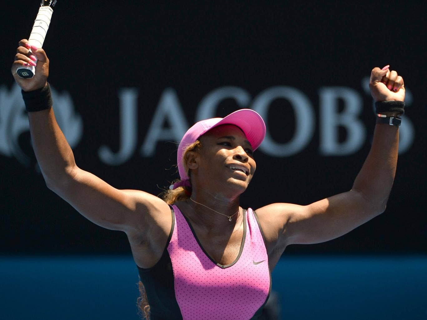 Serena Williams celebrates her third round victory over Daniela Hantuchova at the Australian Open