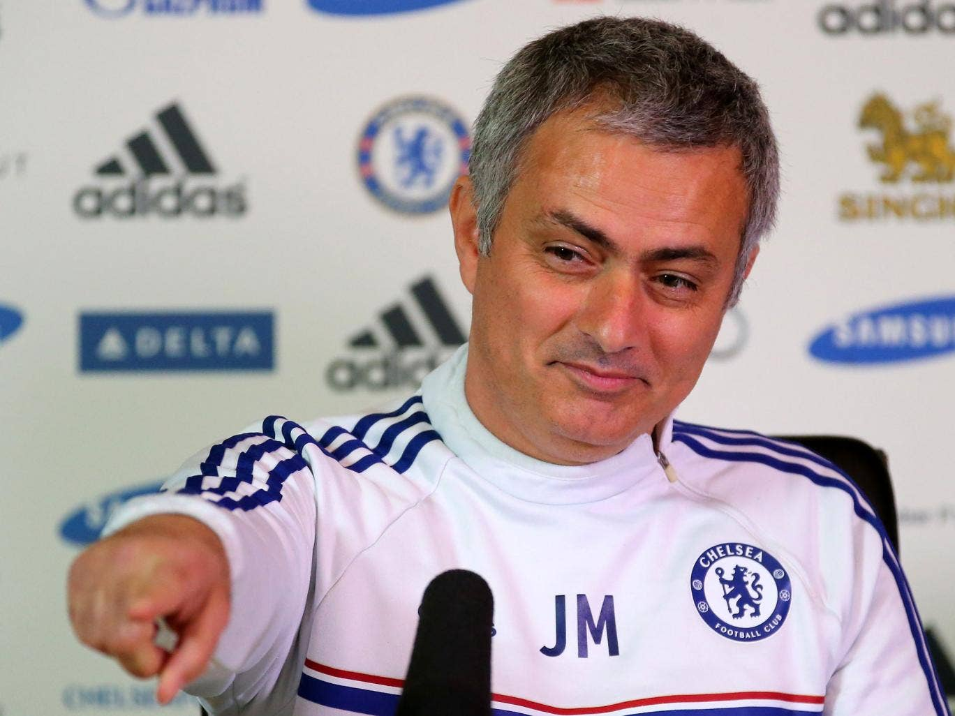 Jose Mourinho points out ITV reporter Rags Martel during a Chelsea press conference