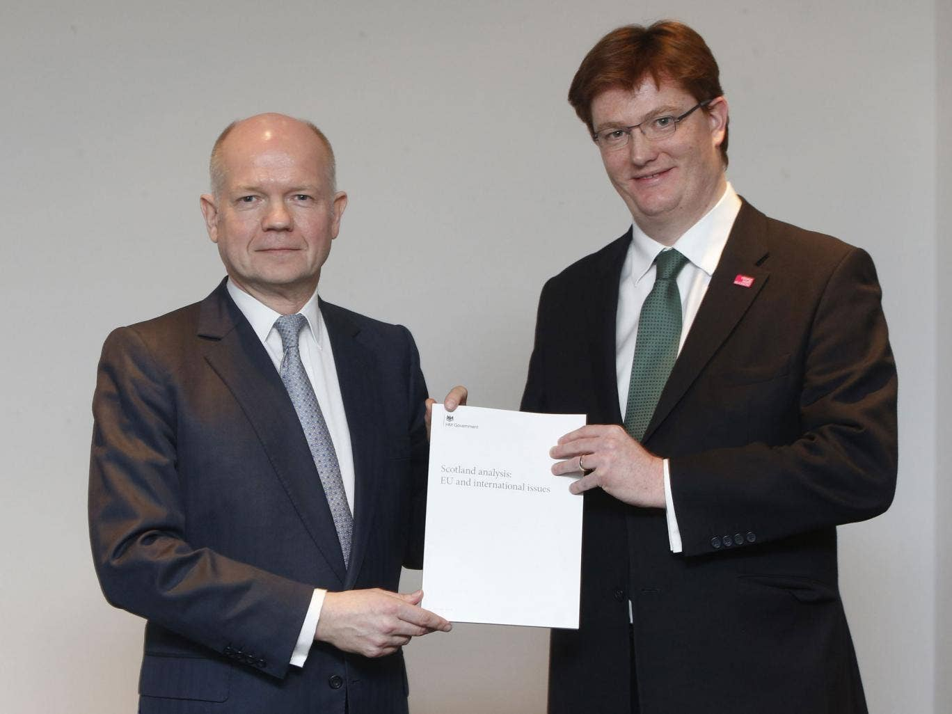 Foreign Secretary William Hague and chief Secretary to the Treasury Danny Alexander during the launch of the EU & international issues document at the Lighthouse in Glasgow