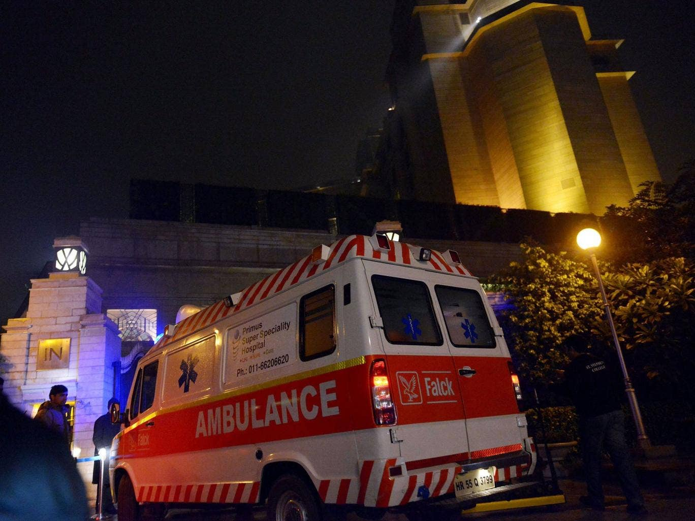 An ambulance arrives at the Leela Hotel in New Delhi where wife of Indian minister Shashi Tharoor, Sunanda Pushkar was found dead