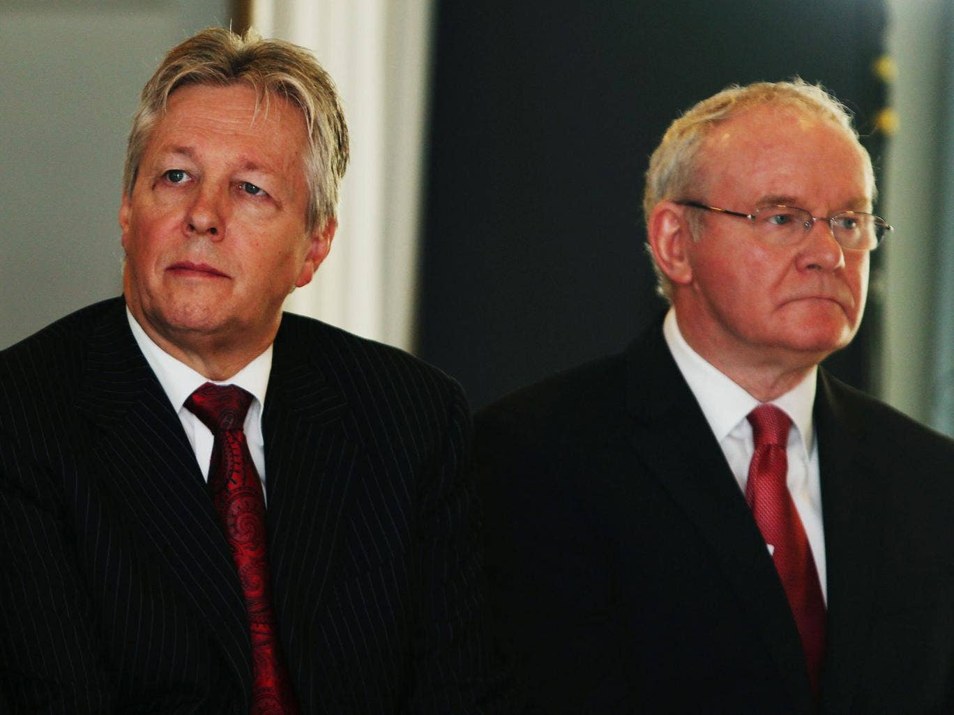 Northern Ireland First Minister Peter Robinson, left, and deputy First Minister Martin McGuinness; McGuinness accused unionist parties of 'dancing to the tune of extremists'