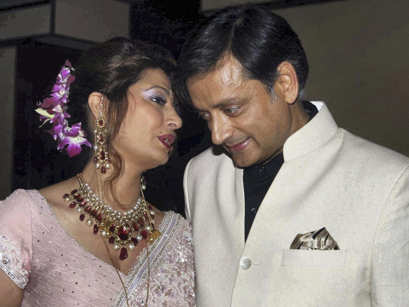 Shashi Tharoor and his wife Sunanda Pushkar at their wedding reception in New Delhi in 2010