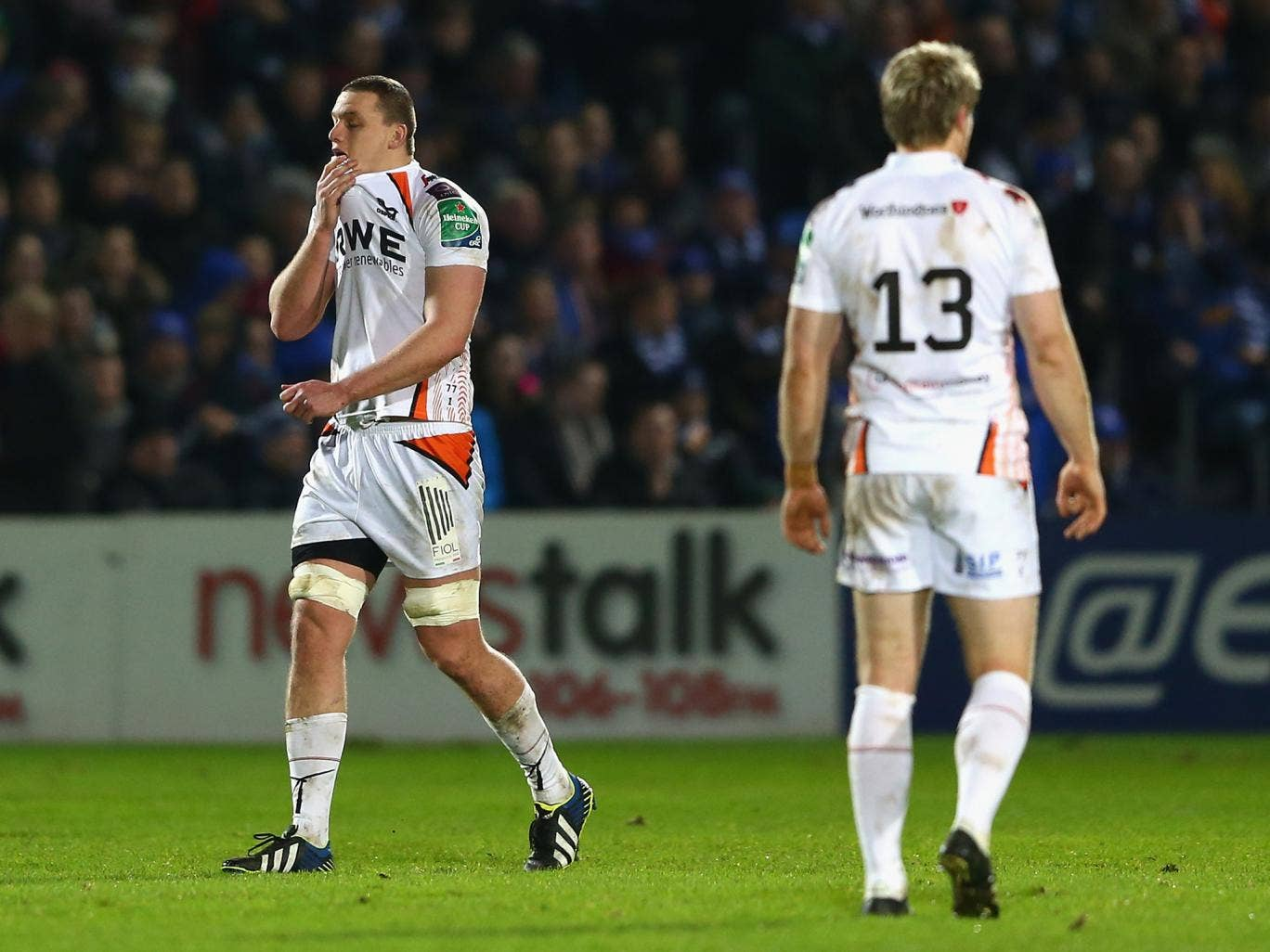 Ian Evans walks off the pitch after being sent-off during the Ospreys 36-3 defeat to Leinster