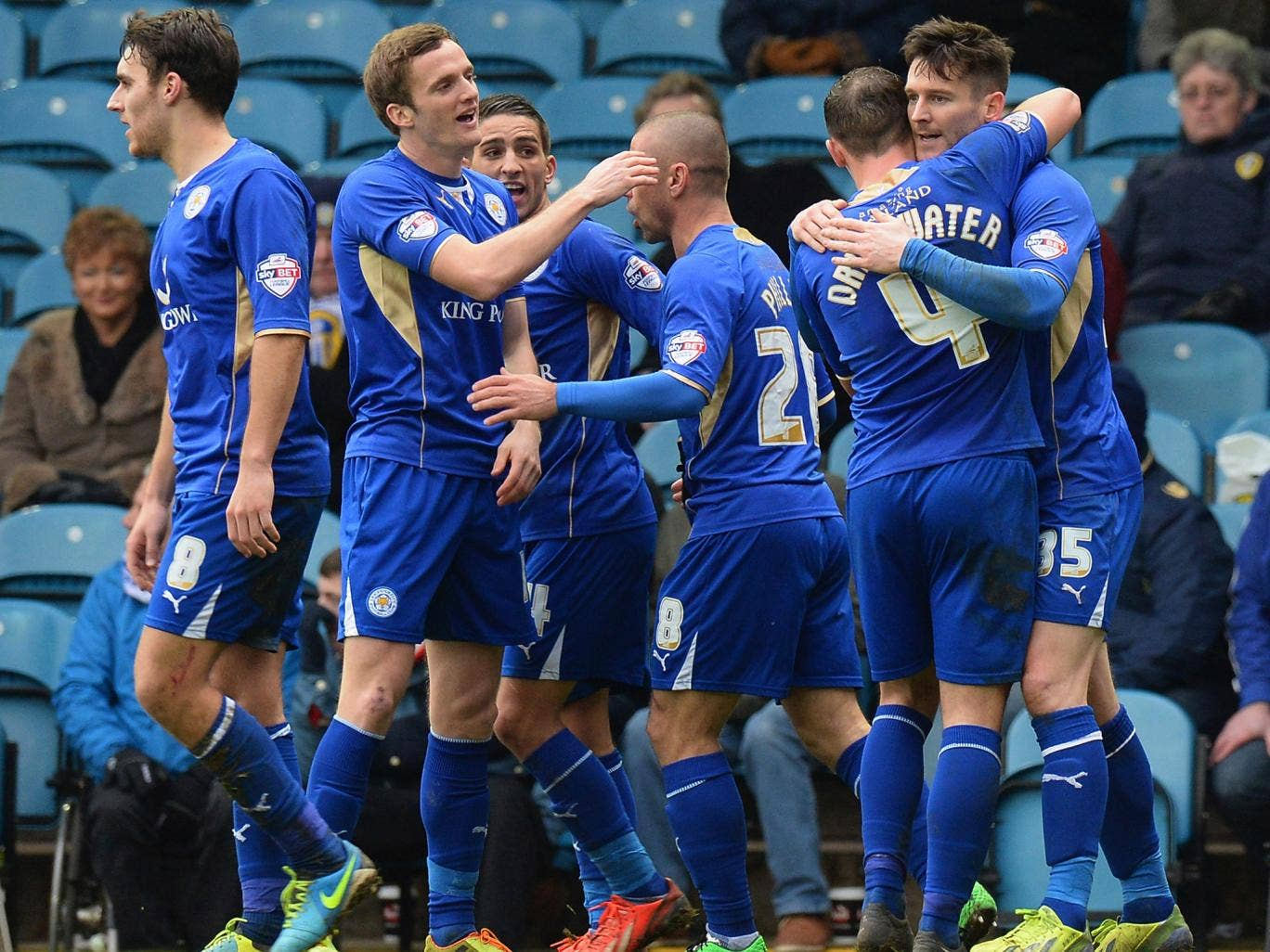 Leicester celebrate after David Nugent scores to give them a late win over Leeds