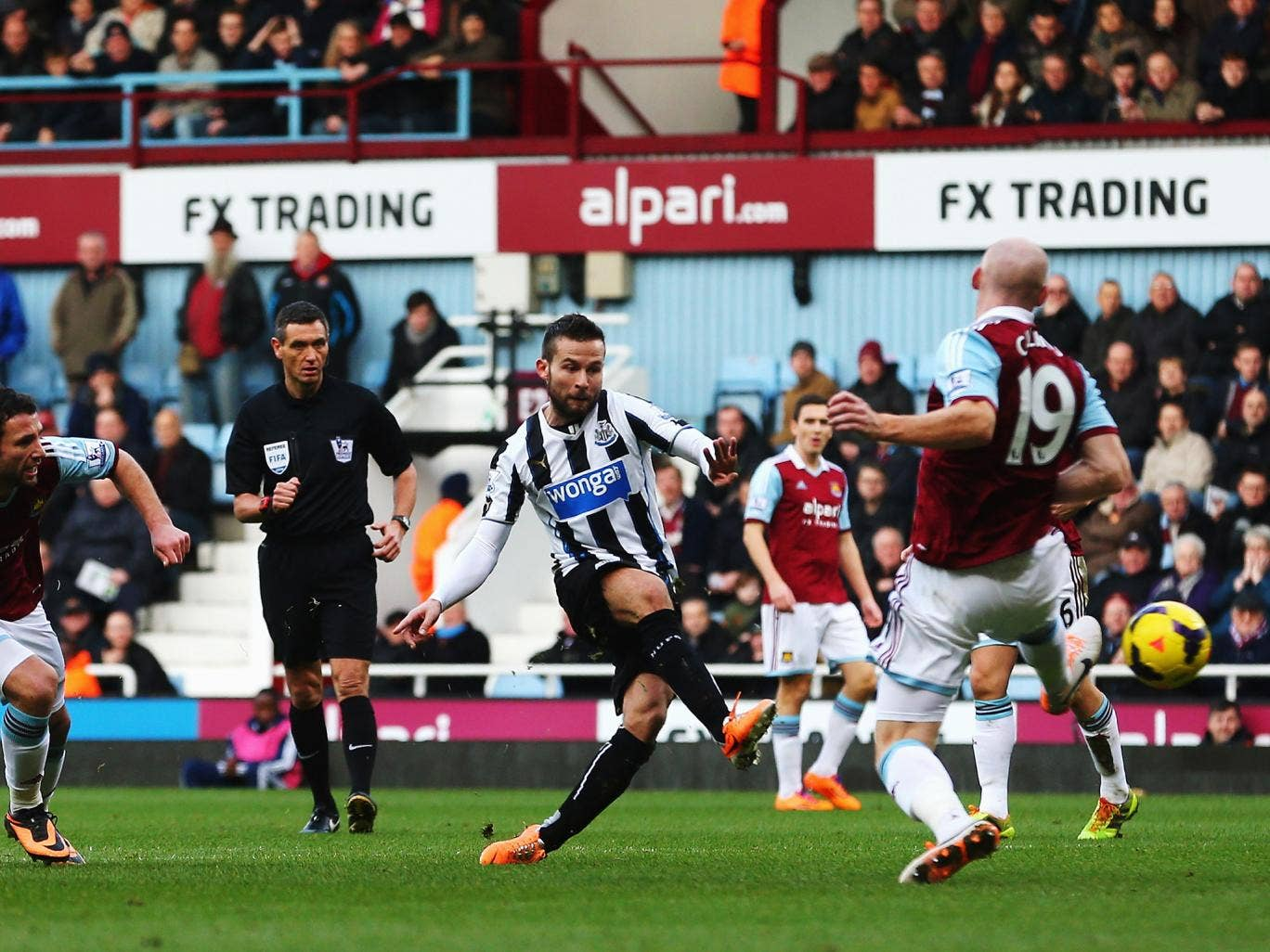 Yohan Cabaye scores against West Ham in Newcastle's 3-1 Premier League victory