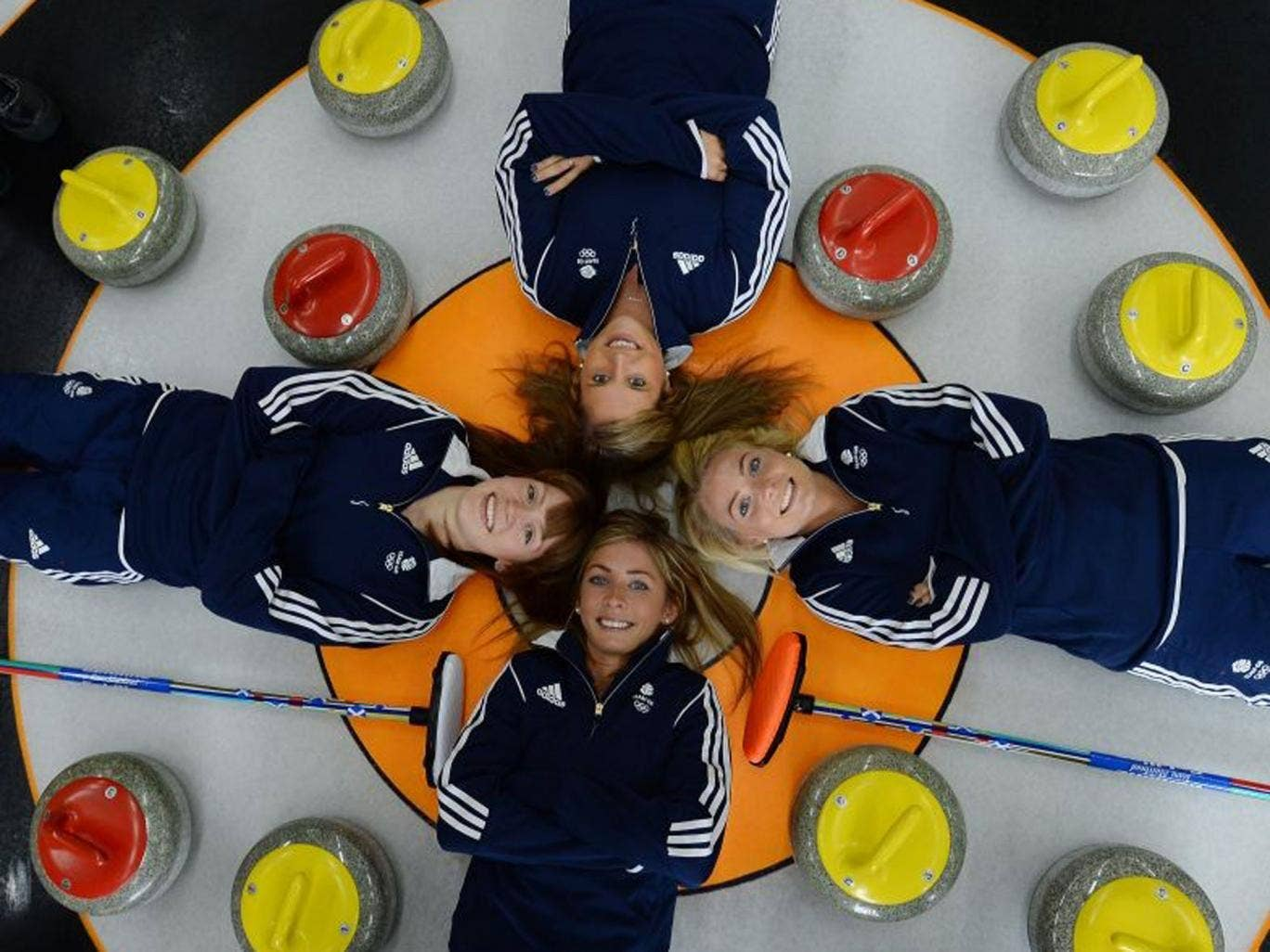 Flat out: (clockwise from bottom) Eve Muirhead, Claire Hamilton, Vicki Adams and Anna Sloan are medal favourites