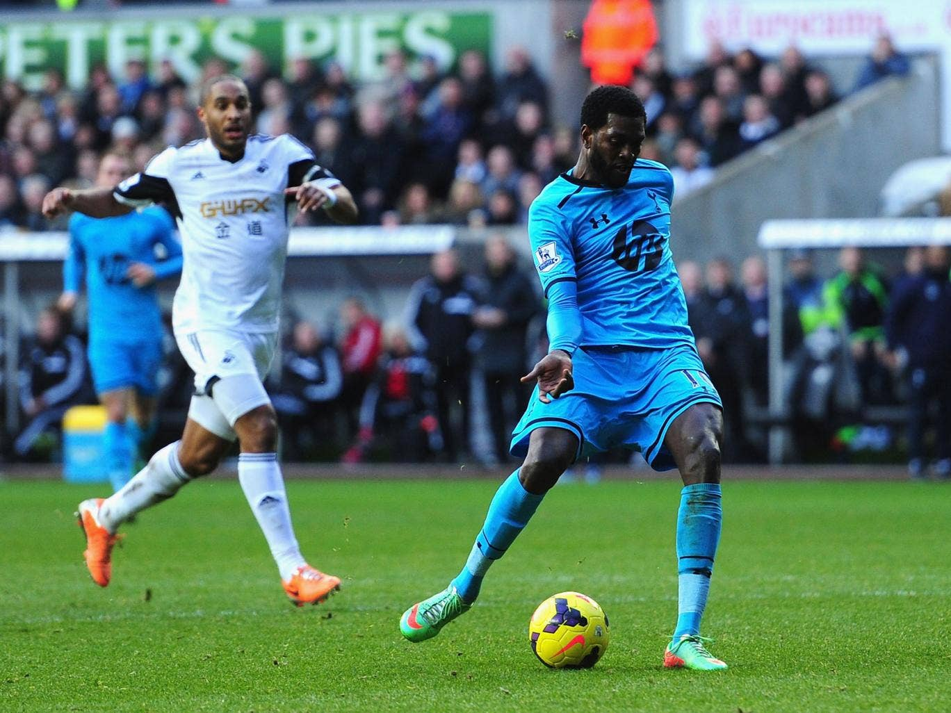 Emmanuel Adebayor has been praised by Tottenham manager Tim Sherwood for his resurgence in form