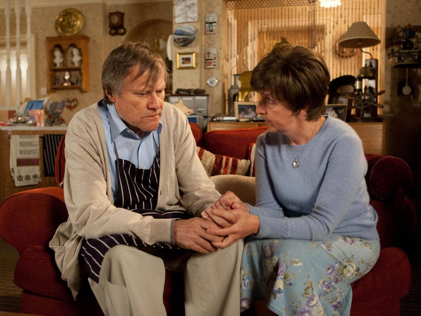 David Neilson and Julie Hesmondhalgh in the latter's final episode of Coronation Street