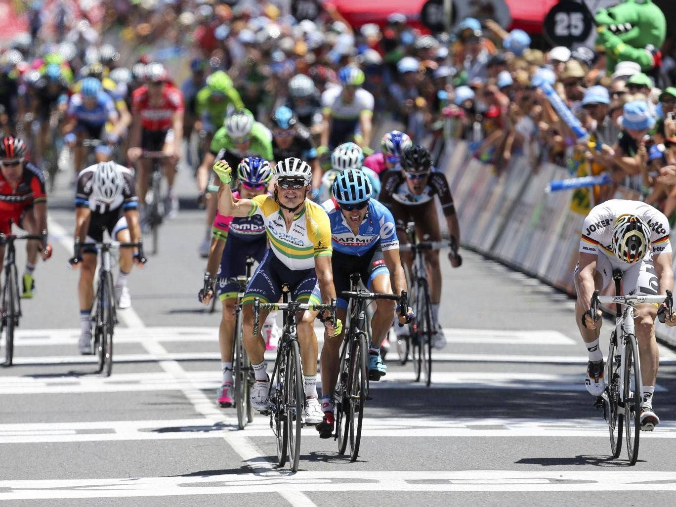 Simon Gerrans of Australia wins the first stage of the Tour Down Under