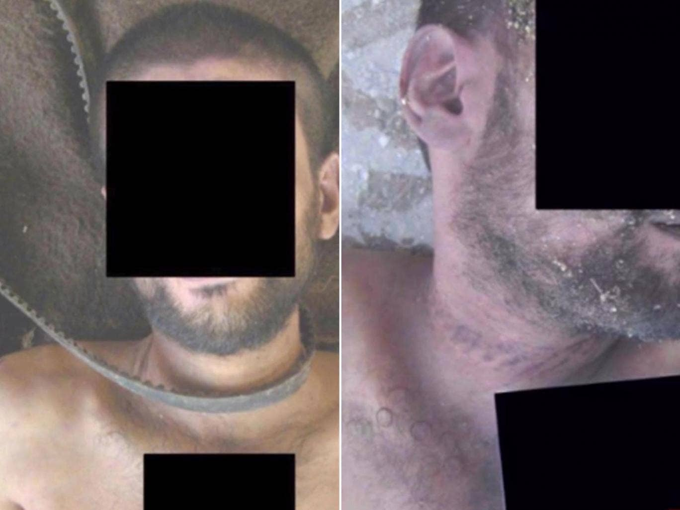 Two horrific images showing men tortured by strangulation in Syria