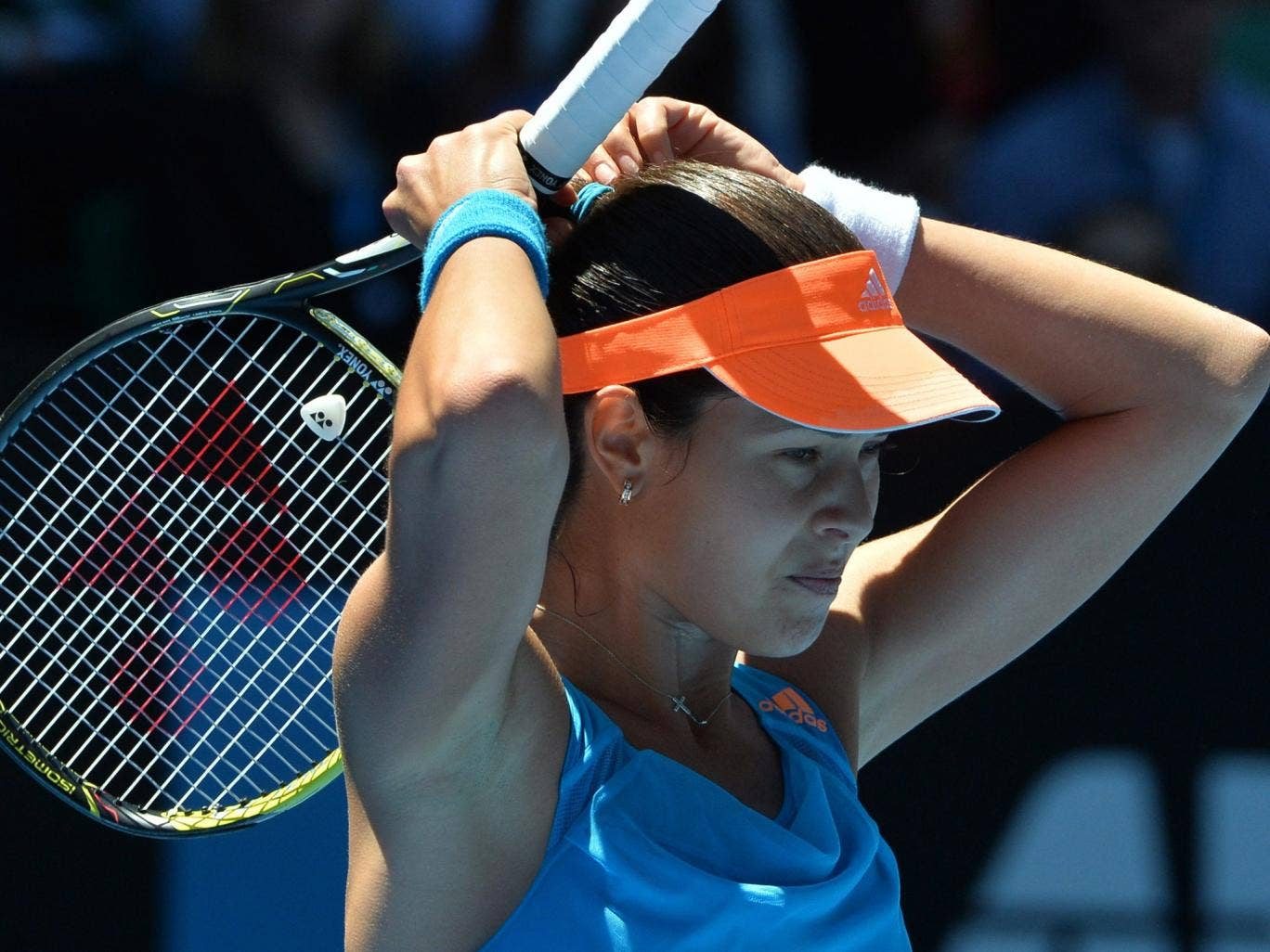 Ana Ivanovic of Serbia reacts to a point to Eugenie Bouchard of Canada during her defeat at the quarter-final stage