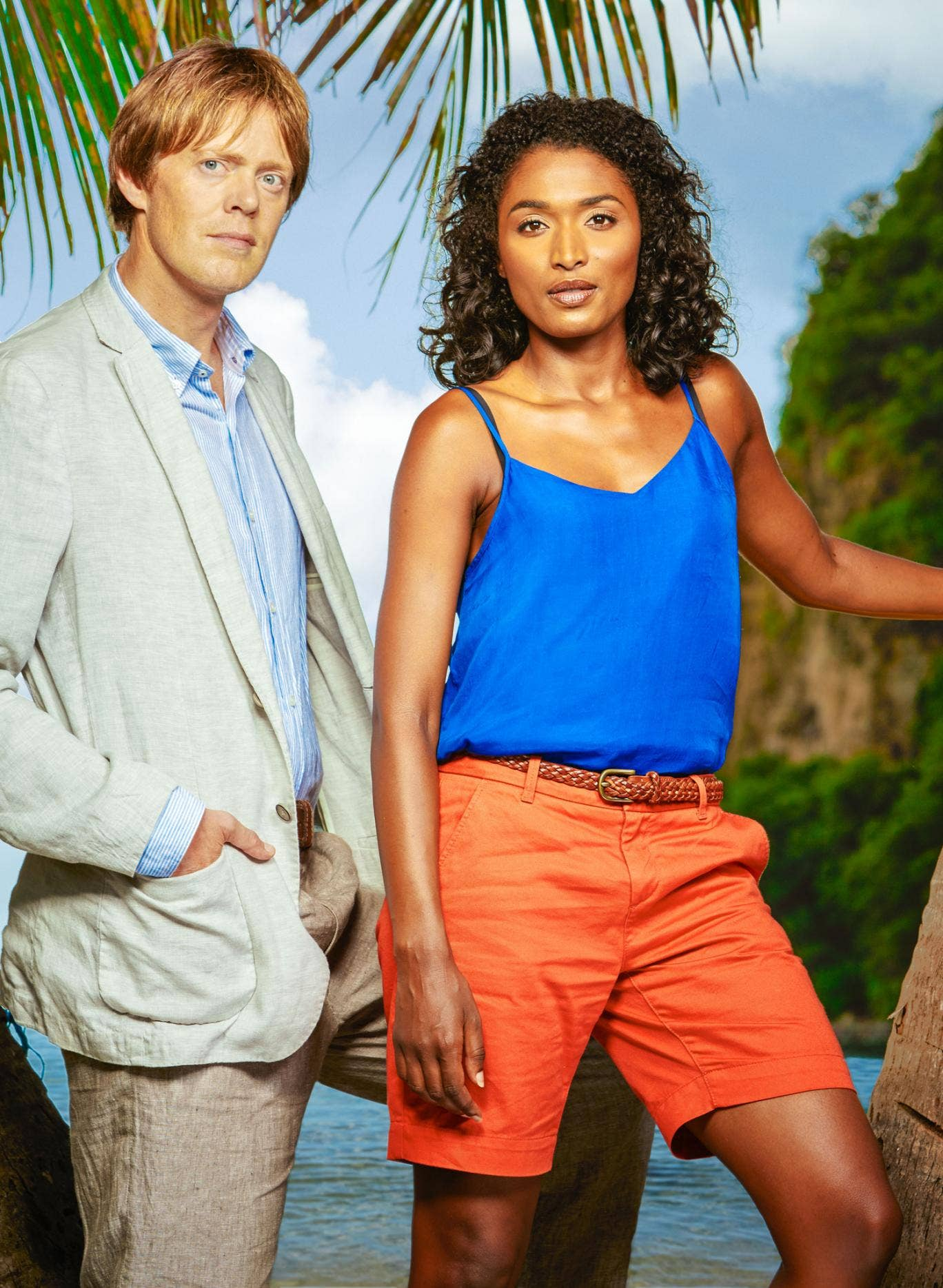 Kris Marshall and Sara Martins in 'Death in Paradise'