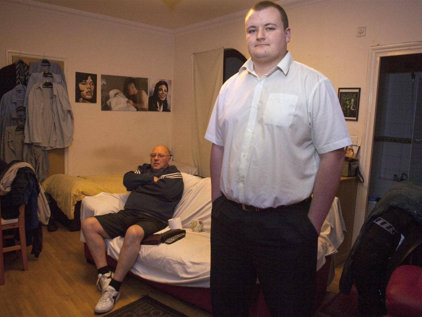 Danny Cousins, 21, and his 66-year-old father, Mick, are sharing a one-bed flat in Luton while Danny saves for a house
