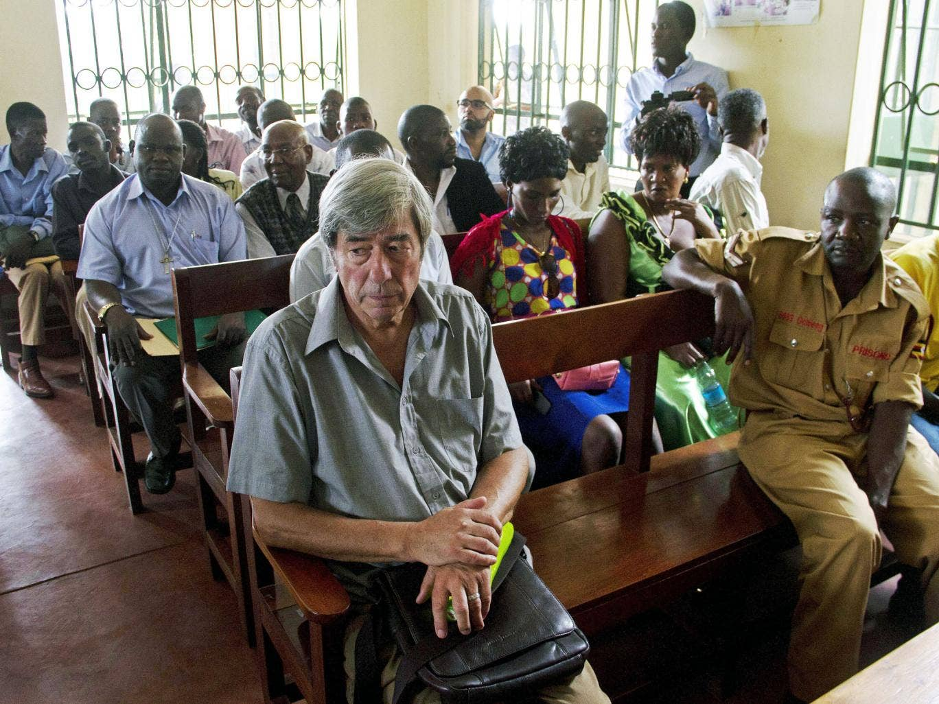 Bernard Randall appears in the Entebbe Chief Magistrates Court on 18 November, on charges of 'trafficking obscene publications'. He was cleared of the charges on Wednesday, and it is thought he will be deported to Britain on Thursday.