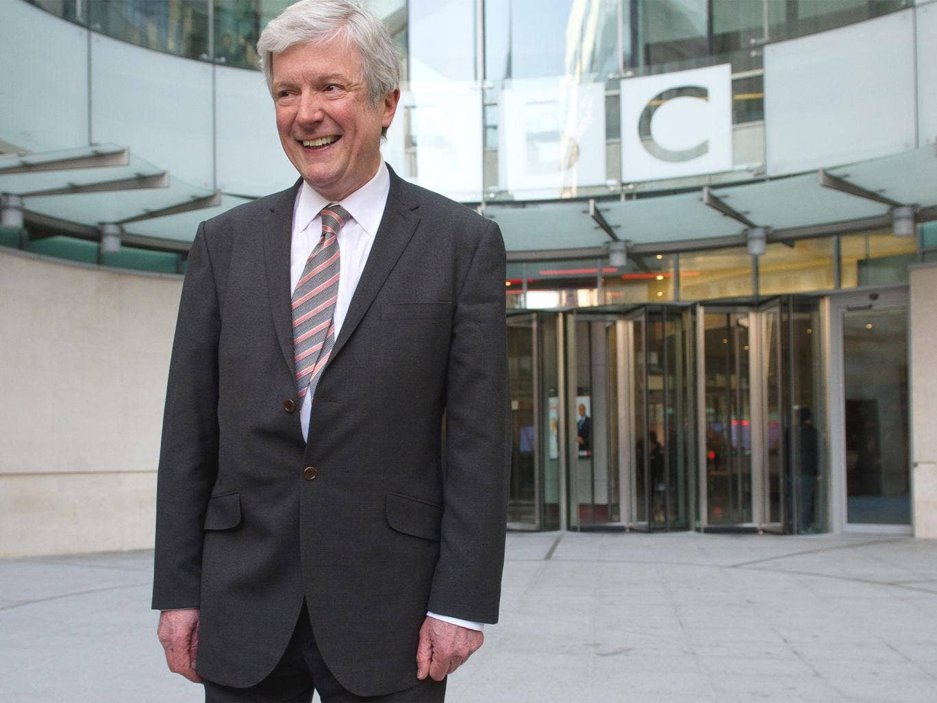 Tony Hall, Director General of the BBC, outside New Broadcasting House