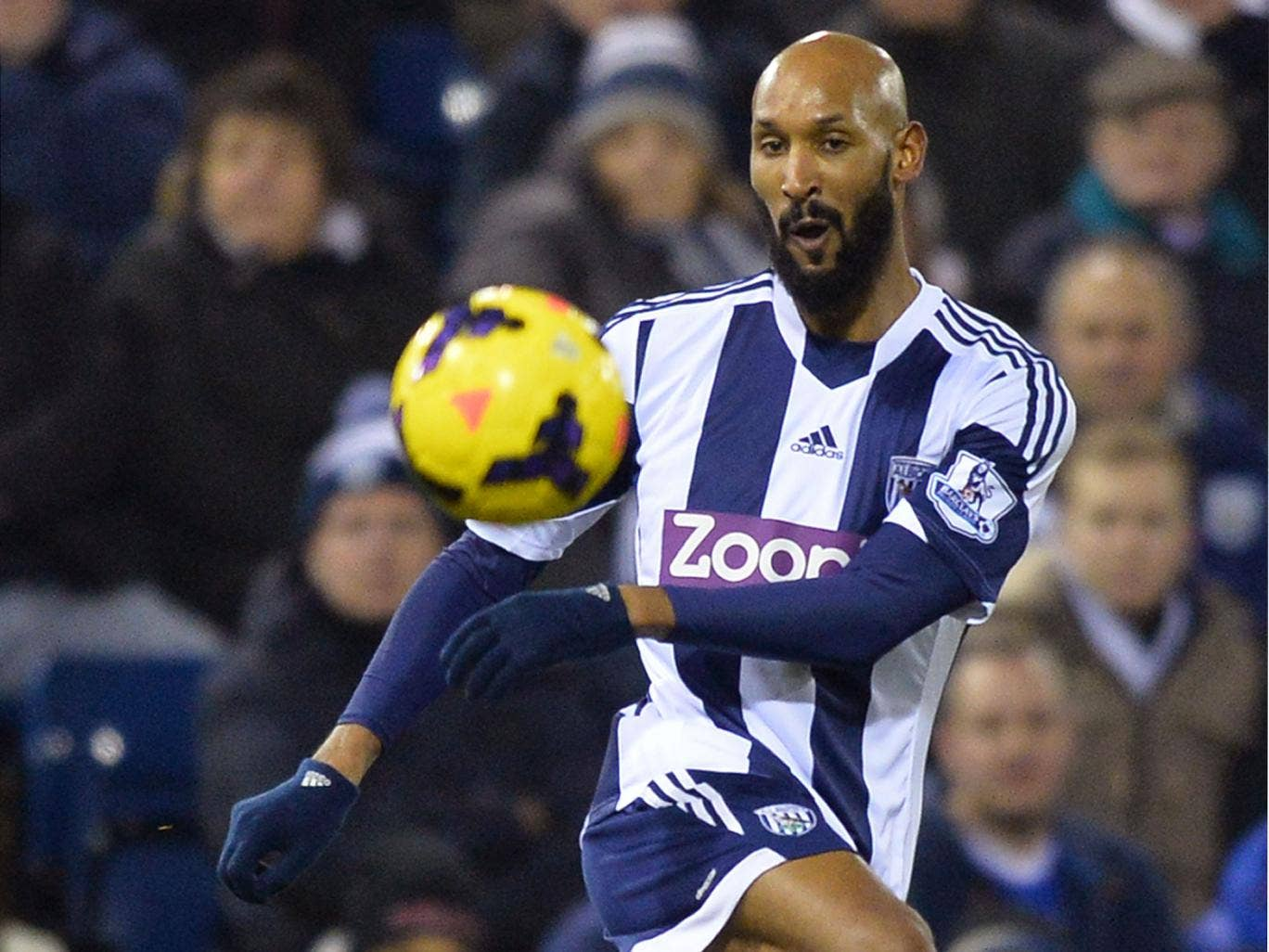 Nicolas Anelka in action for West Brom during the 1-1 draw with Everton