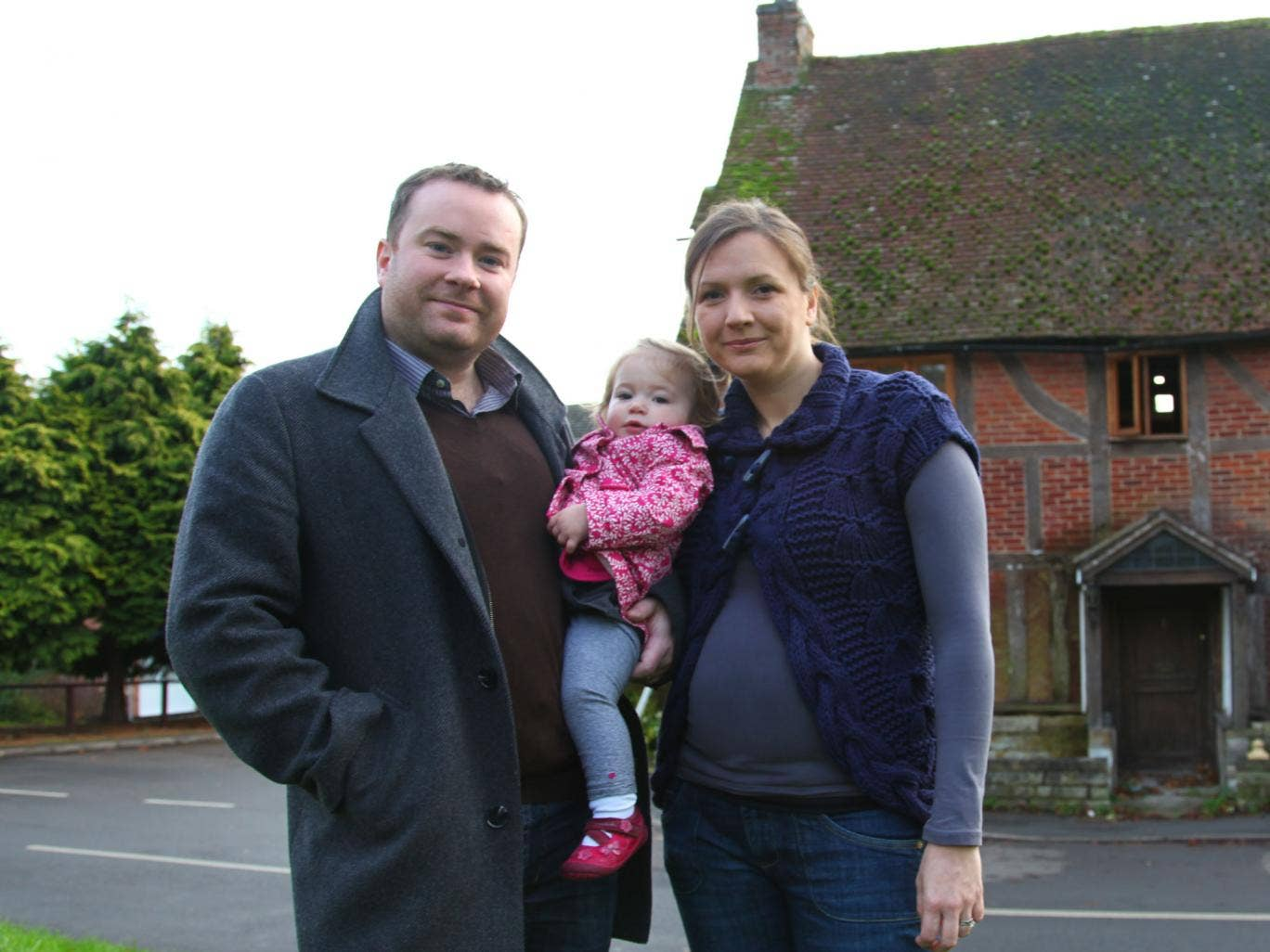 Window of opportunity: the Forgan family outside Abbey Lane in Warwickshire in 'Restoration Home: One Year On'