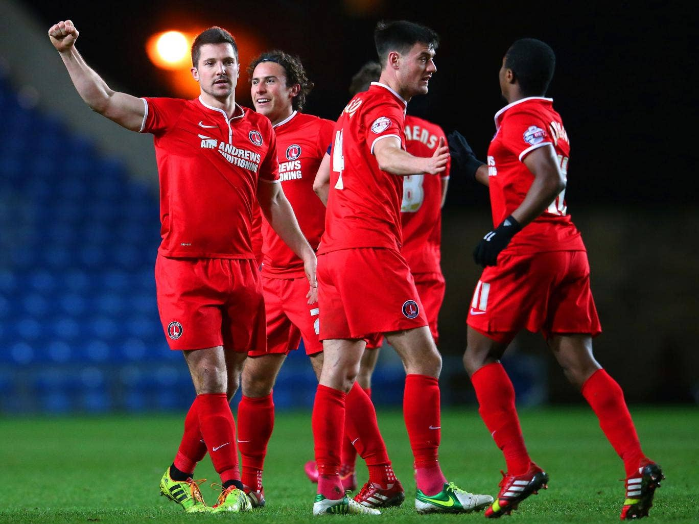 Charlton Athletic players celebrate after the FA Cup win over Oxford