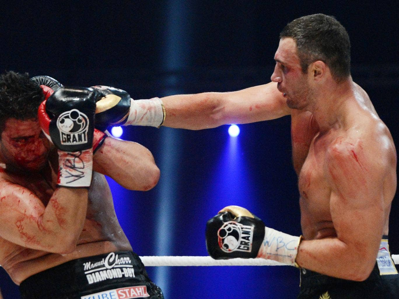 Vitali Klitschko fighting for the defense of his WBC heavyweight title against Germany's Manuel Charr in 2012
