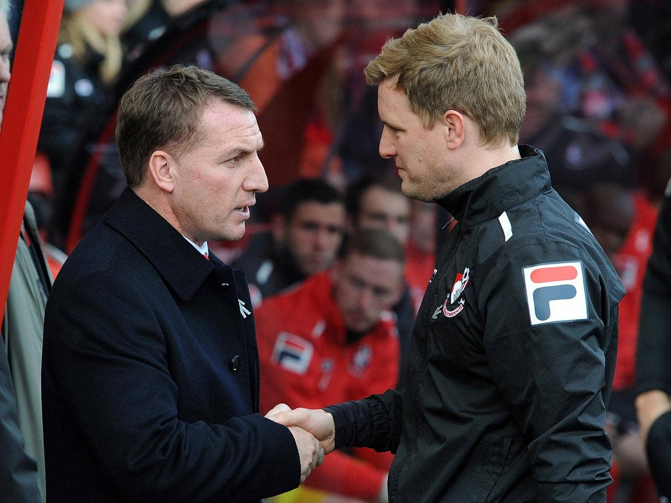 Brendan Rodgers shakes hands with Eddie Howe after Liverpool's 2-0 victory over Bournemouth