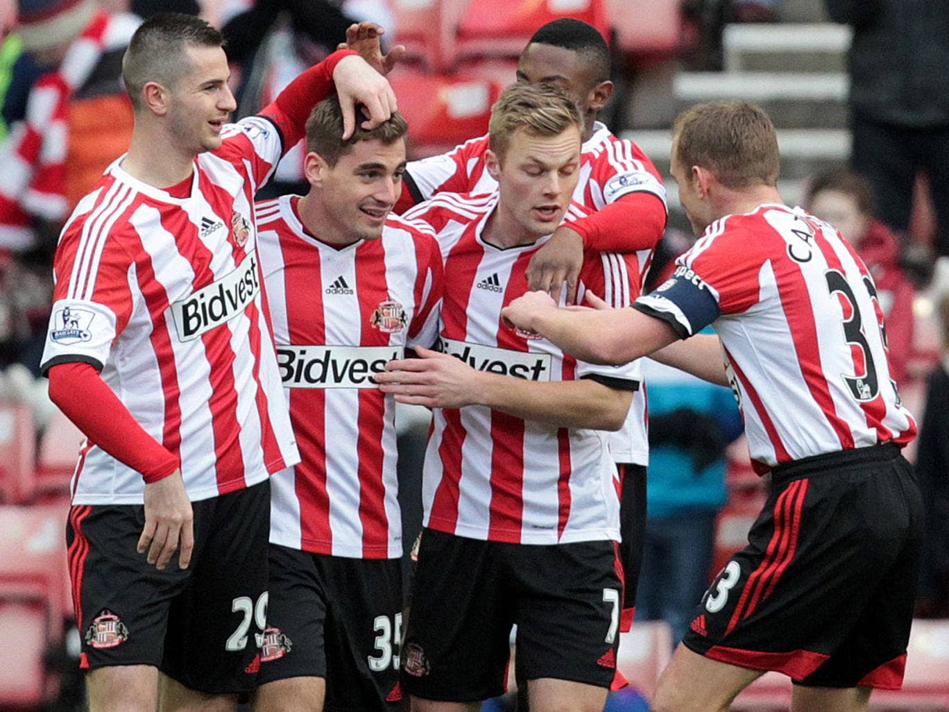 Charis Mavrias celebrates with his Sunderland team-mates after scoring against Kidderminster