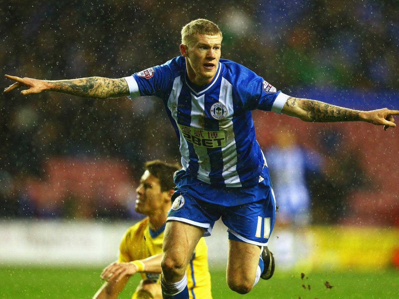 James McClean celebrates after scoring the winner for Wigan against Crystal Palace in the FA Cup