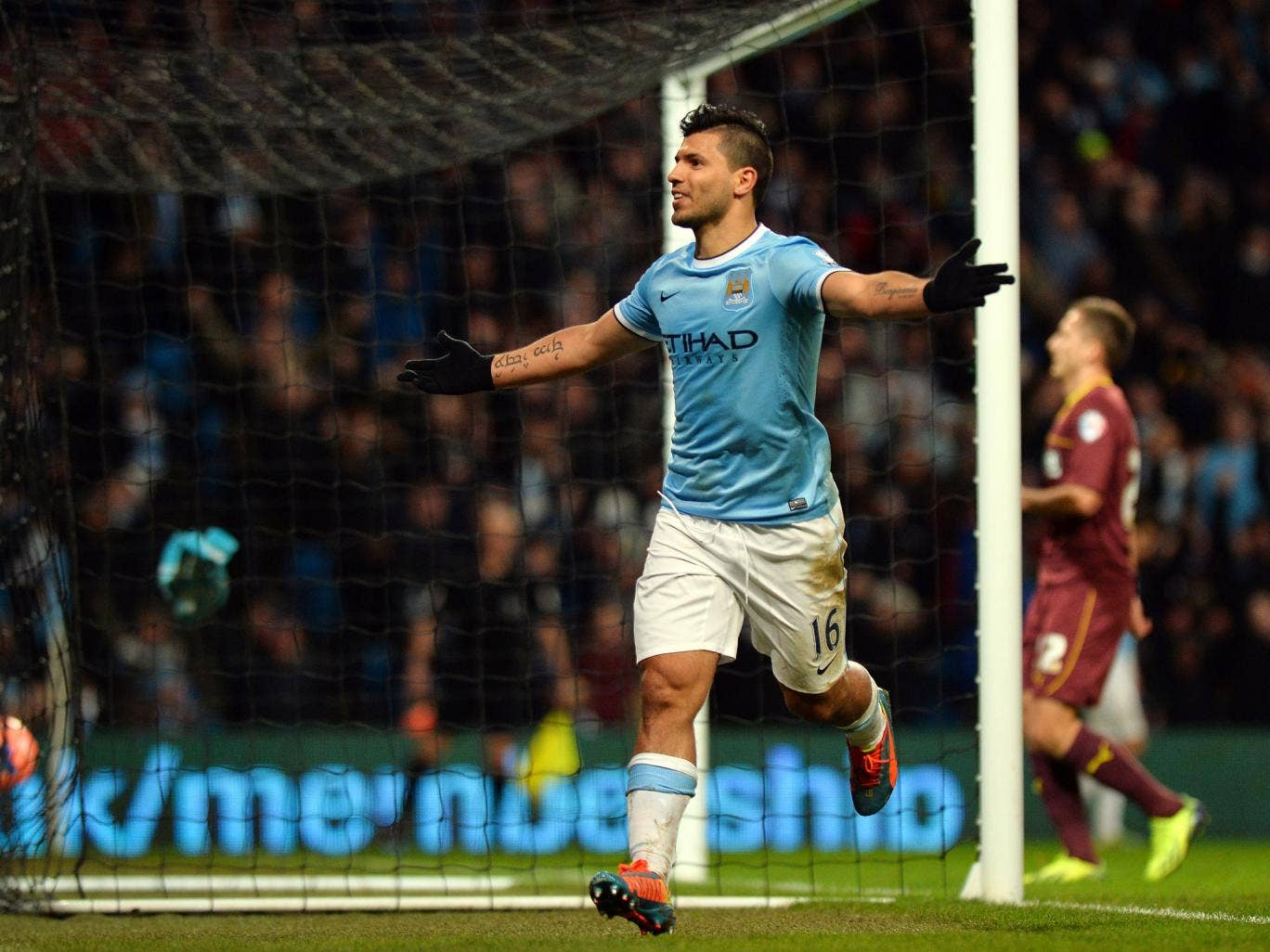 Sergio Aguero celebrates his hat-trick for Manchester City in the FA Cup win over Watford