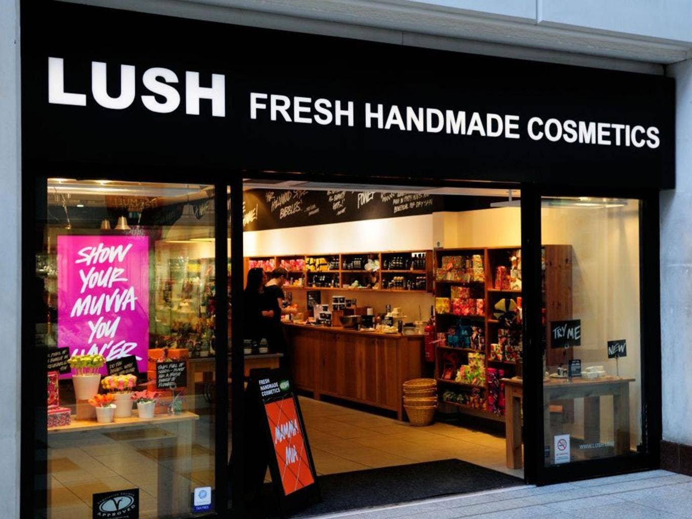 Lush often uses its front windows to campaign against social injustice