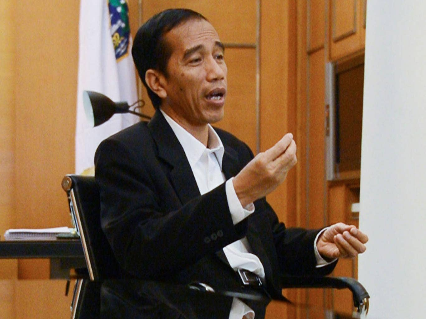Governor Joko Widodo being interviewed in City Hall earlier this year