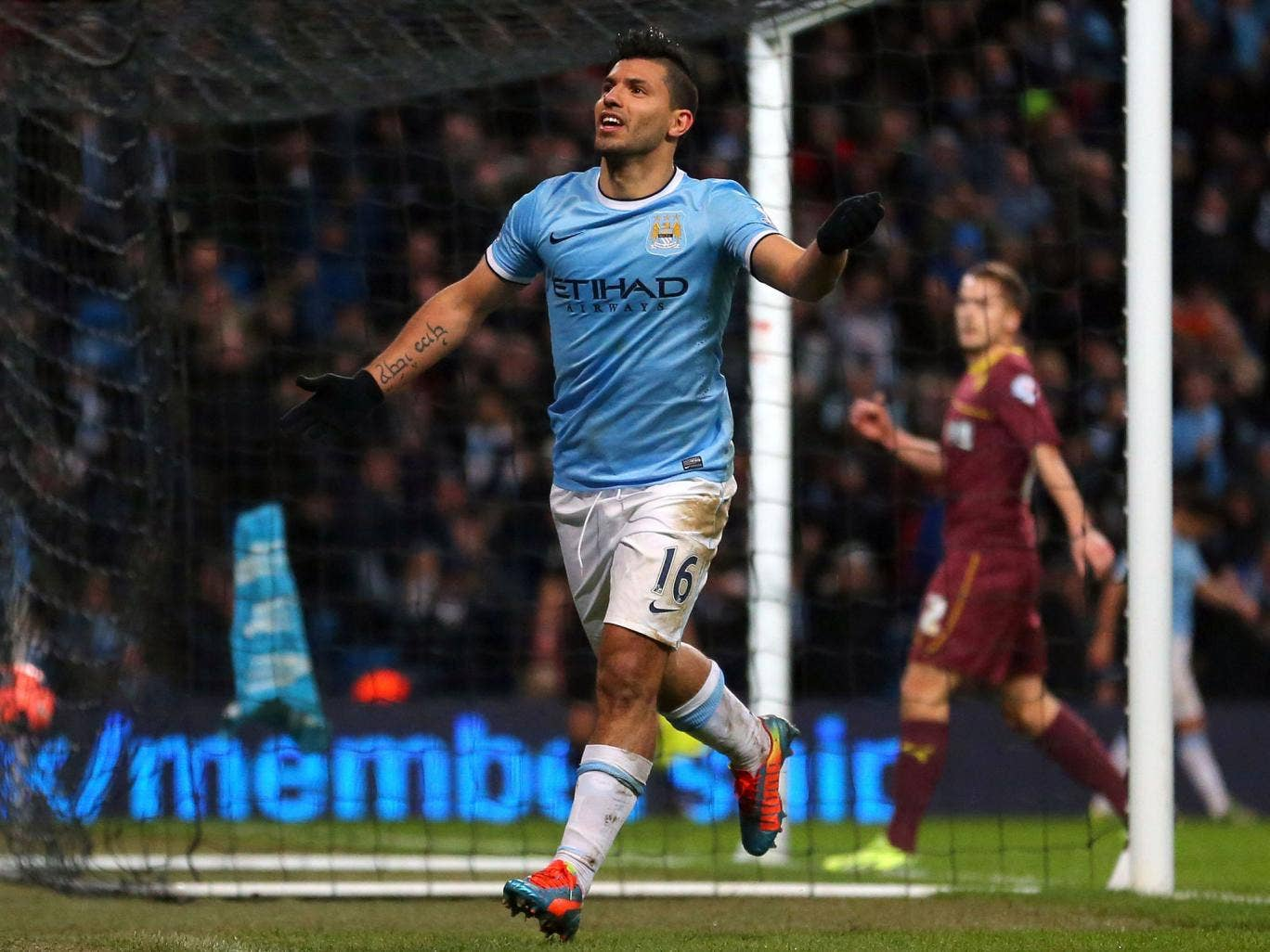 Sergio Aguero celebrates one of his goals in a second-half hat-trick