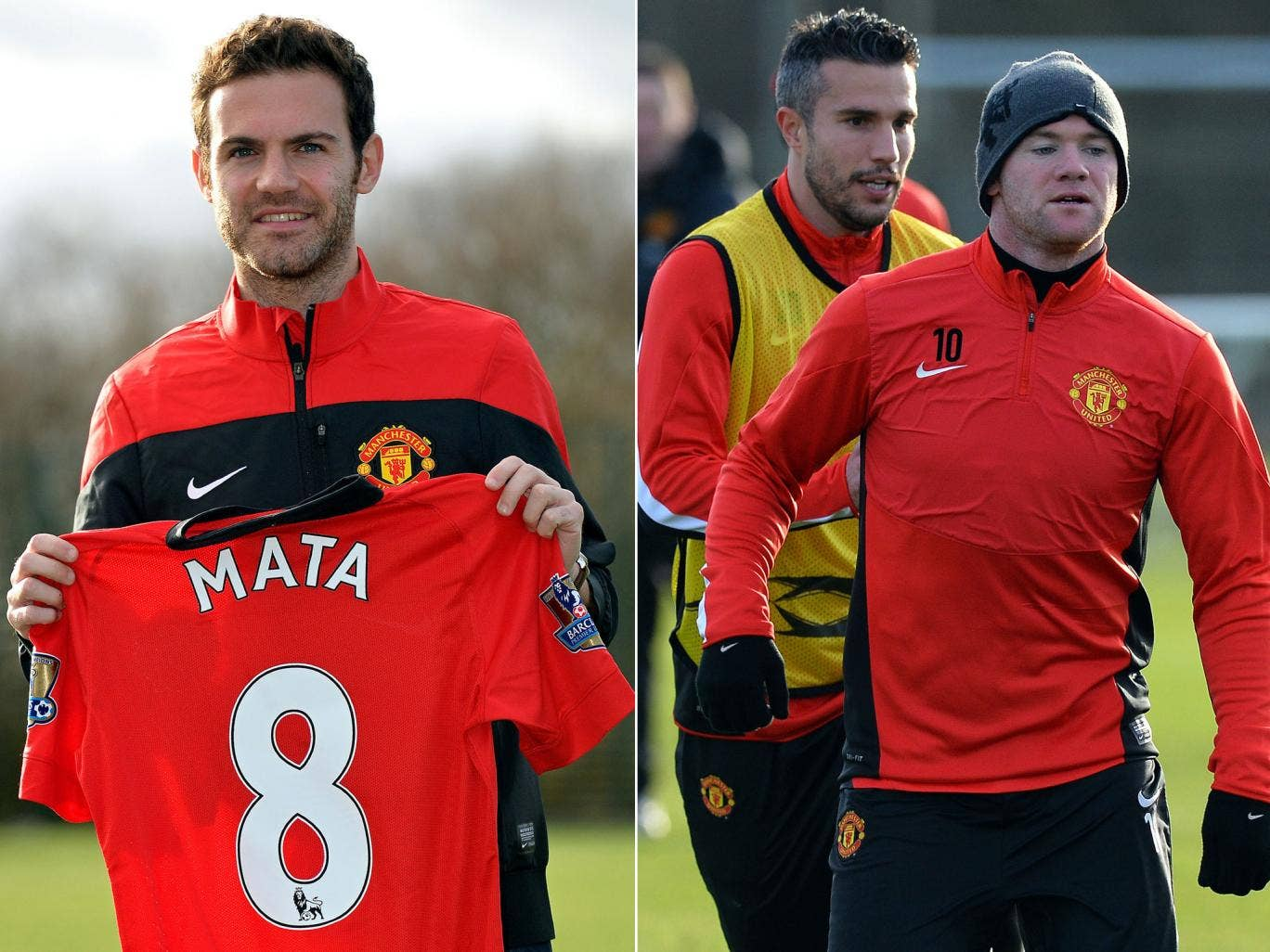 Juan Mata was presented as a Manchester United player on the same day as the return to training of Robin van Persie and Wayne Rooney