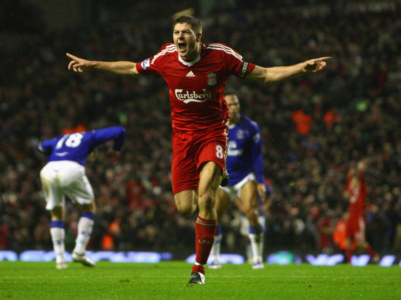 Liverpool captain Steven Gerrard celebrates opening the scoring in the Merseyside derby at Anfield back in 2009