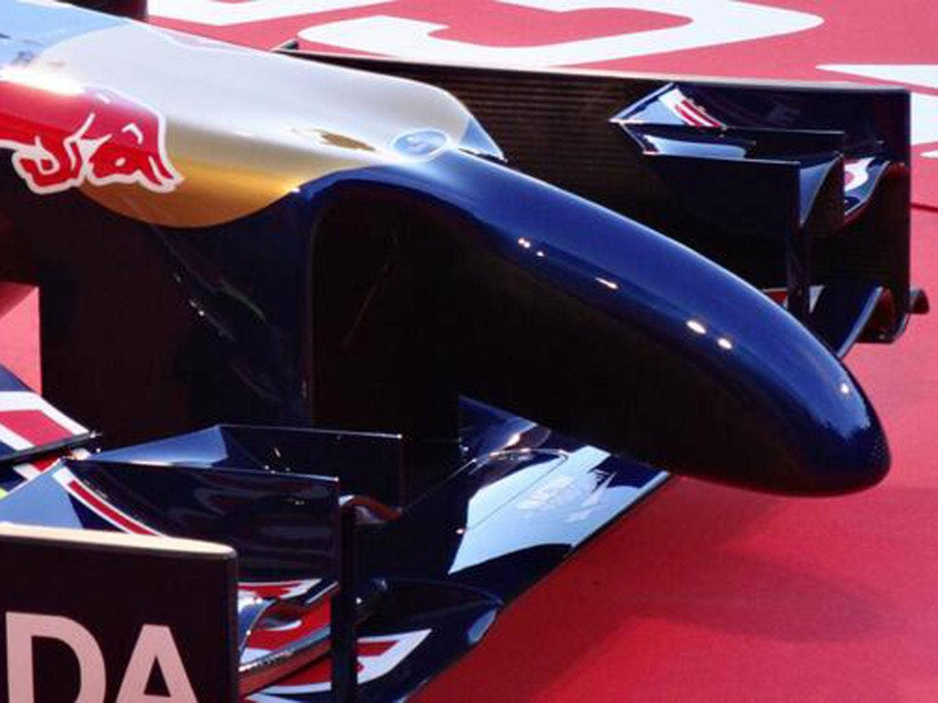 The 'anteater' nose of the Toro Rosso SRT9, likened to a sex toy by lingerie makers Ann Summers