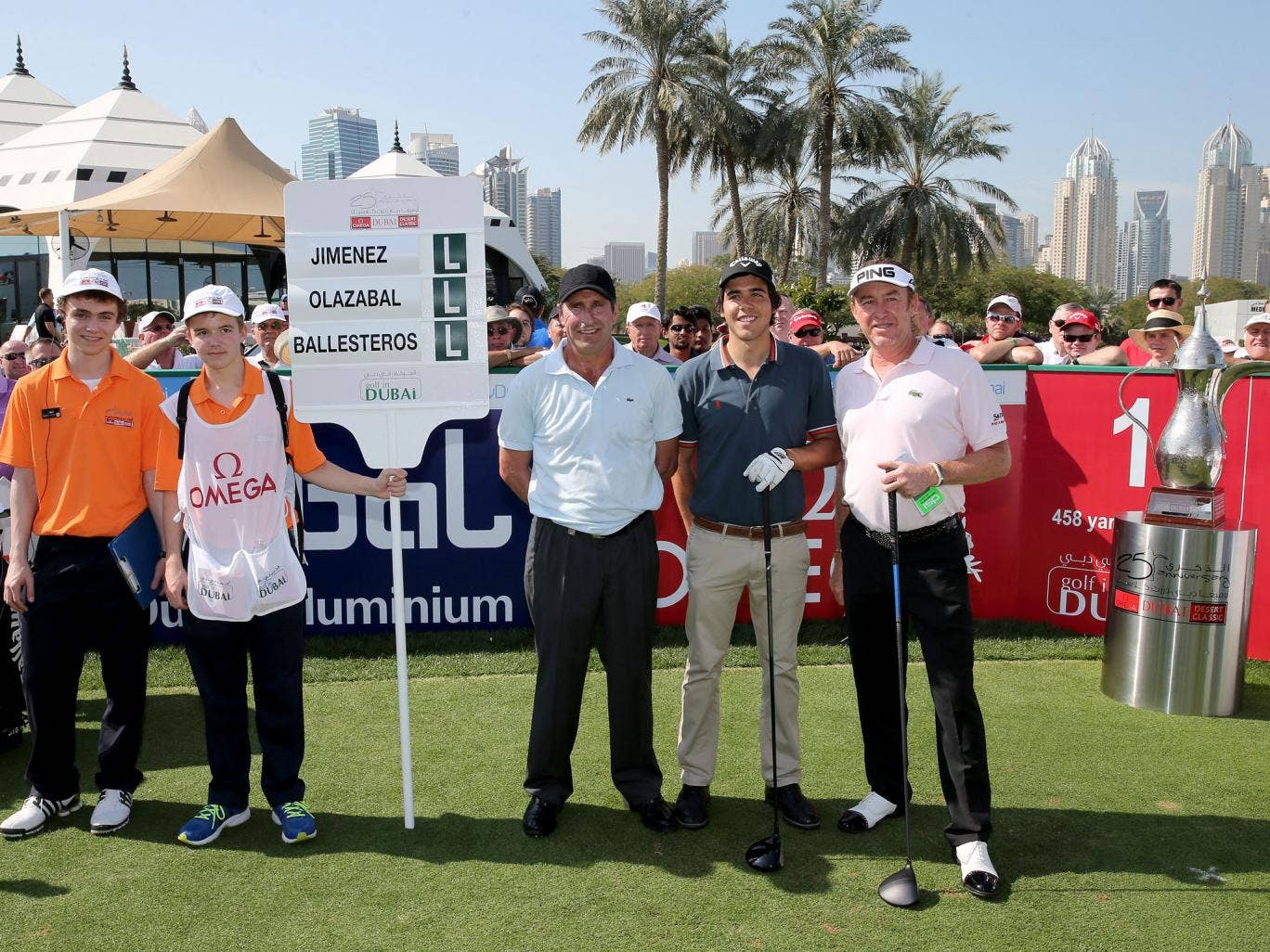 Jose-Maria Olazabal, Javier Ballesteros and Miguel Angel Jimenez pose for a picture before teeing-off at the Dubai Desert Classic