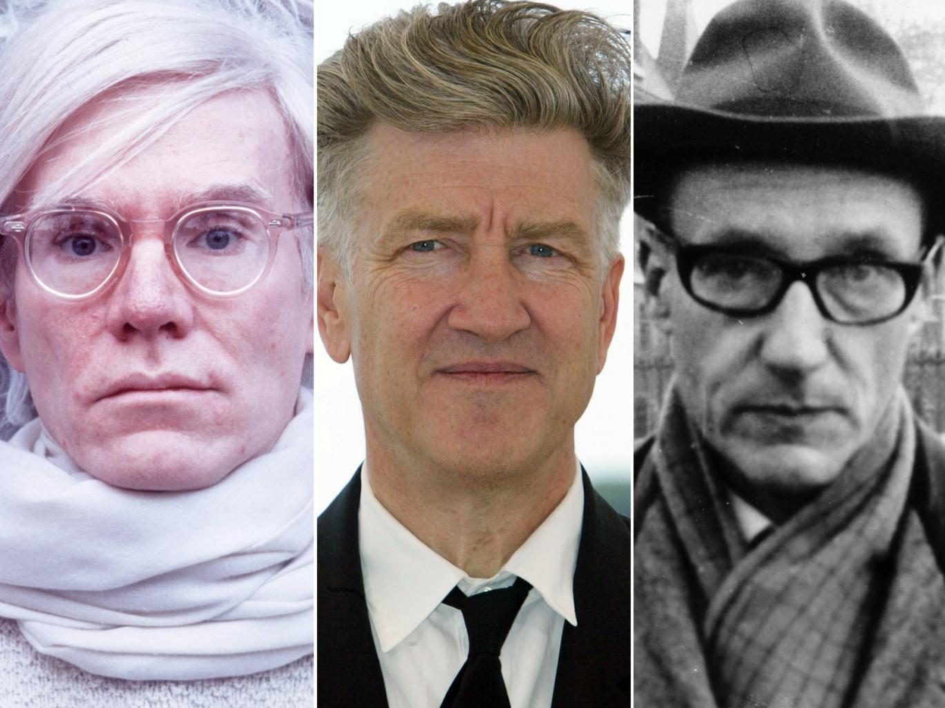 Warhol in 1976; Lynch in 2002; Burroughs in 1965