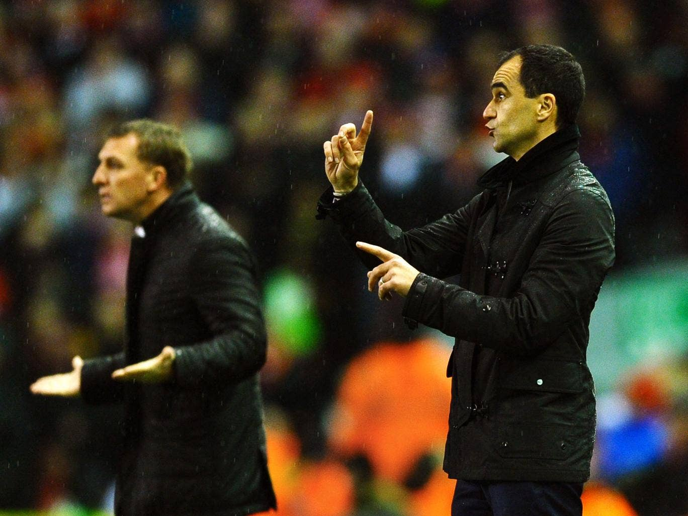 Brendan Rodgers and Roberto Martinez pictured during the 222nd Merseyside derby