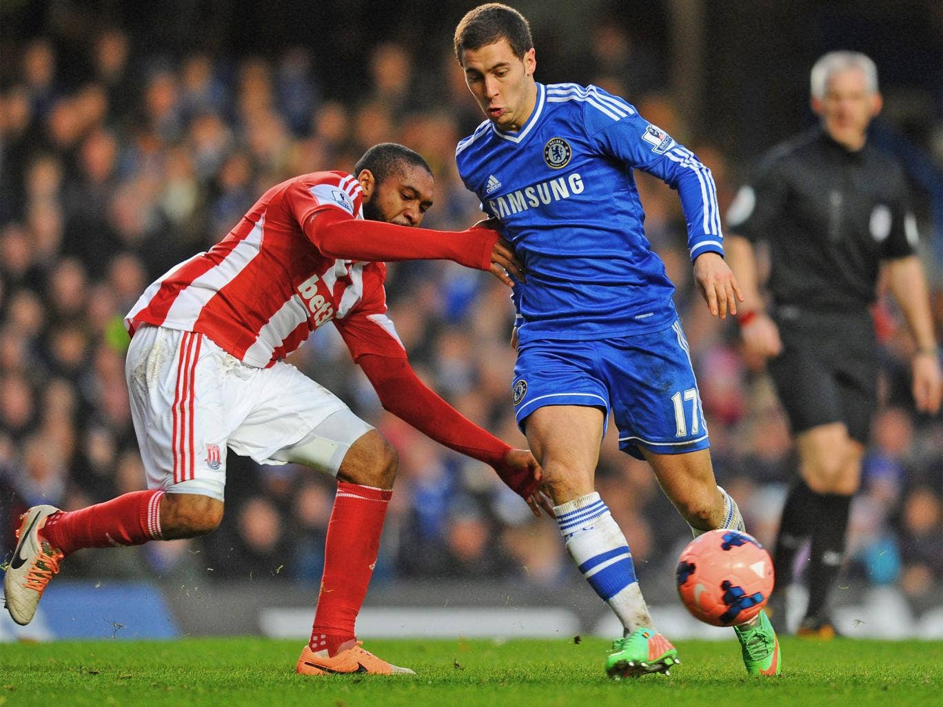 Chelsea's Eden Hazard in action during last weekend's FA Cup Fourth Round match against Stoke City