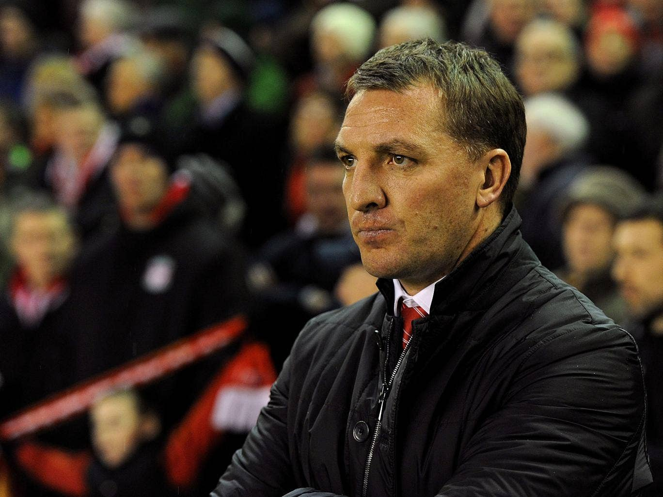 Liverpool manager Brendan Rodgers watches his side in the Merseyside derby