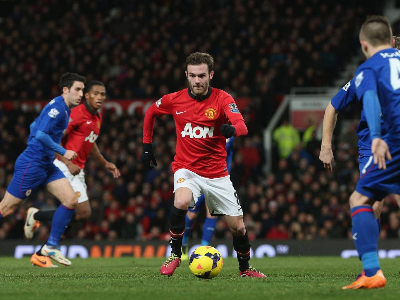 Juan Mata in action on his debut for Manchester United against Cardiff