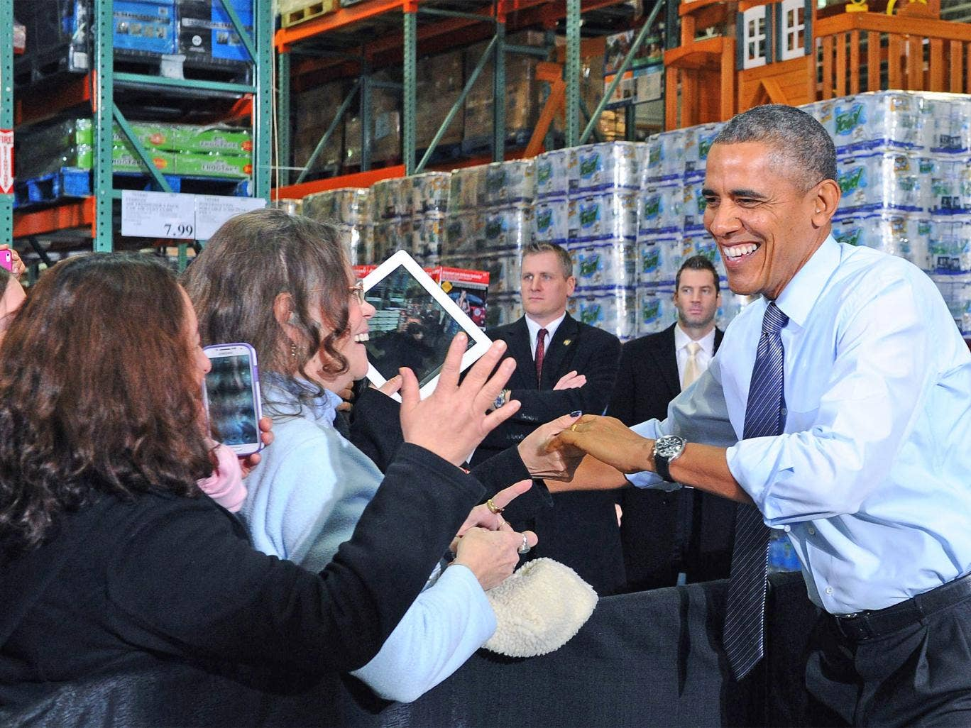 Barack Obama told a crowd at a Costco store the country was moving on
