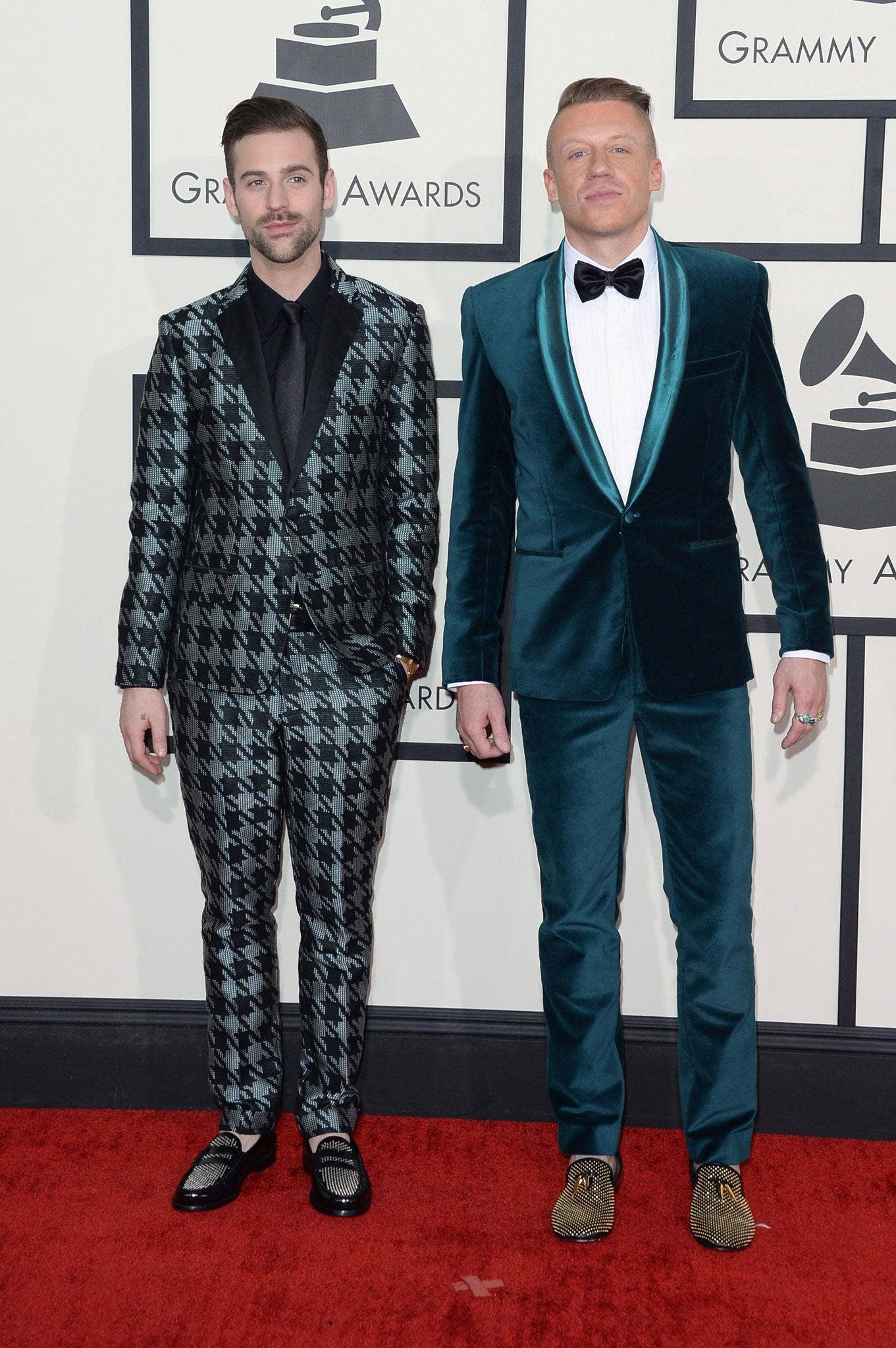 Suits you :Macklemore (right) with Ryan Lewis at the Grammy Awards