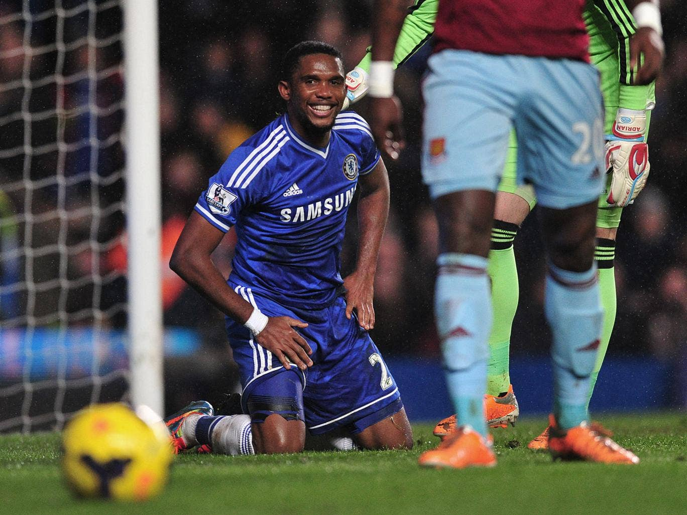 Samuel Eto'o shows his frustration in the 0-0 draw with West Ham