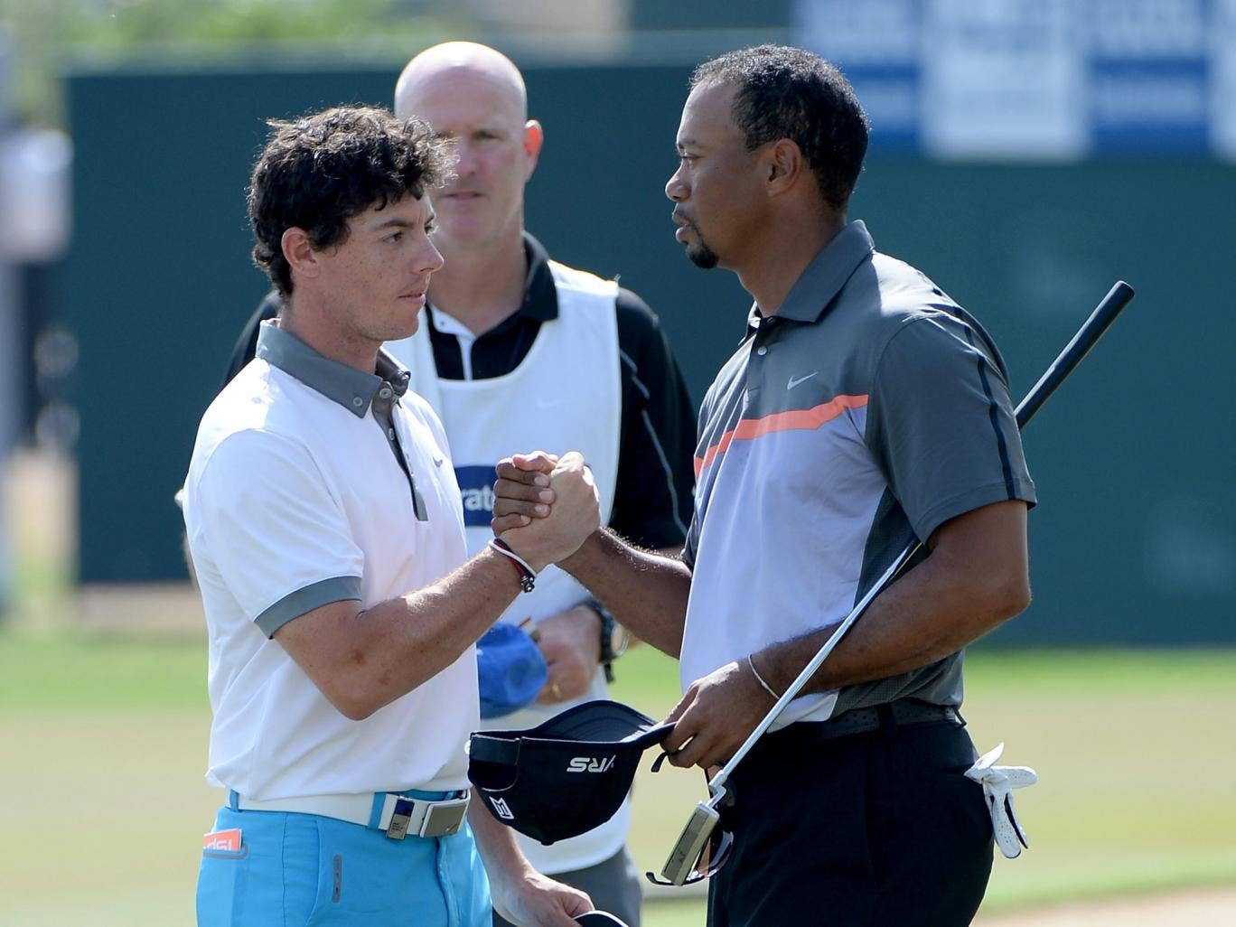 Rory McIlroy with Tiger Woods in Dubai