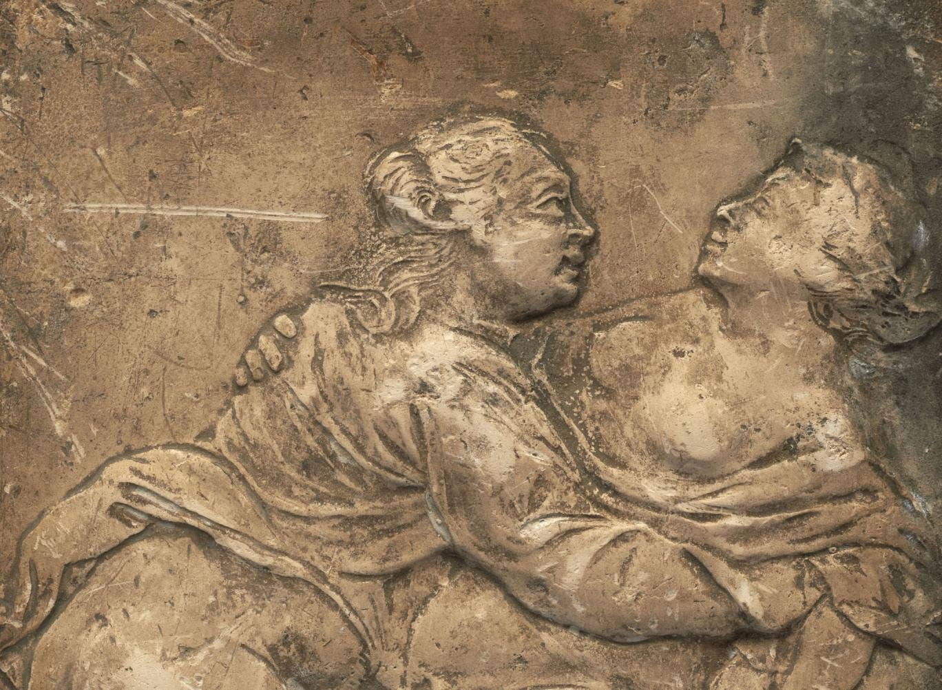 An 18th century erotic relief tile due to go on show at the Museum of London for Valentine's Day