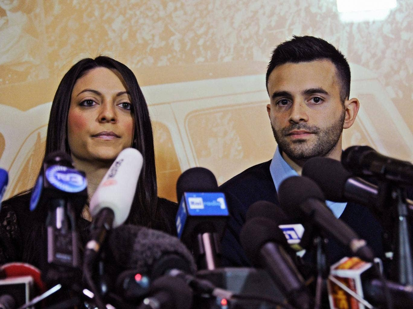 Kercher's sister, Stephanie Kercher (L) and brother Lyle Kercher speak during a press conference in Florence, 2014