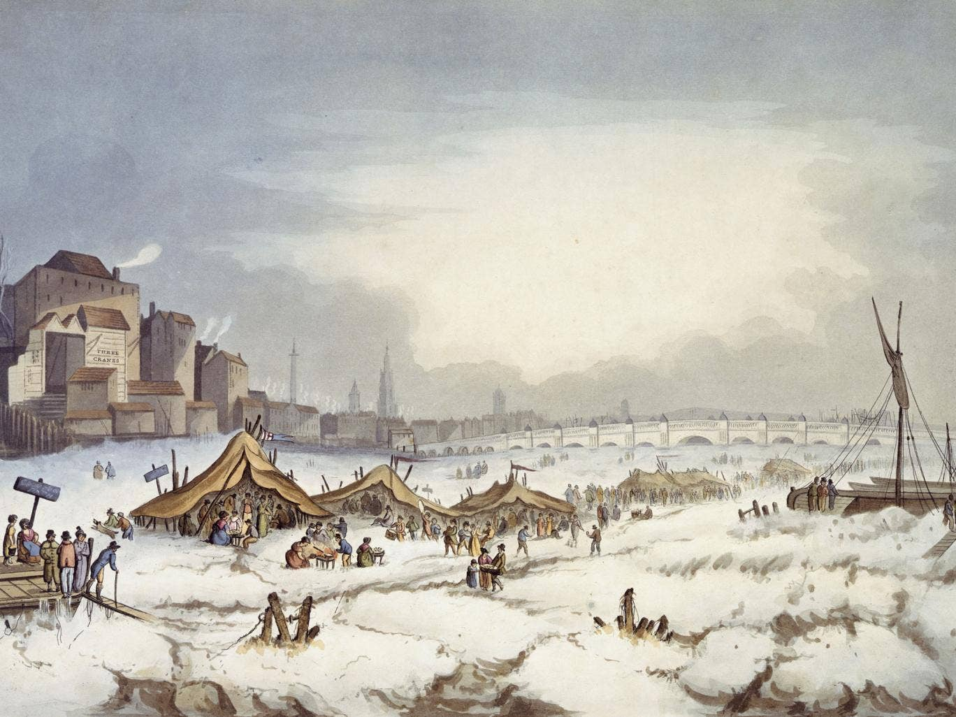 Colour aquatint showing the frost fair on the Thames published 18th February 1814