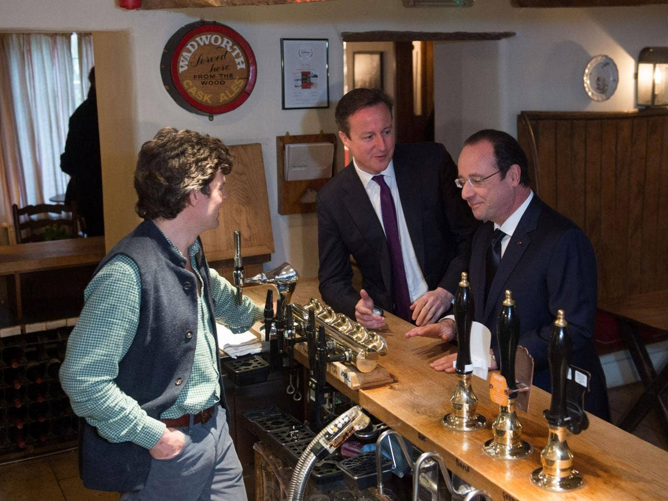 David Cameron and François Hollande at The Swan in Swinbrook, Oxfordshire on Friday