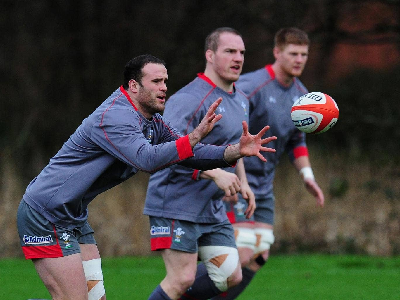 Jamie Roberts trains with Wales at the Vale Hotel near Cardiff this week for the Six Nations opener against Italy Saturday